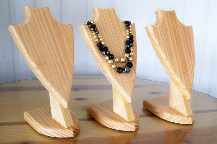 Lot of 3 handcrafted cypress wood bust jewelry necklace display stand holders