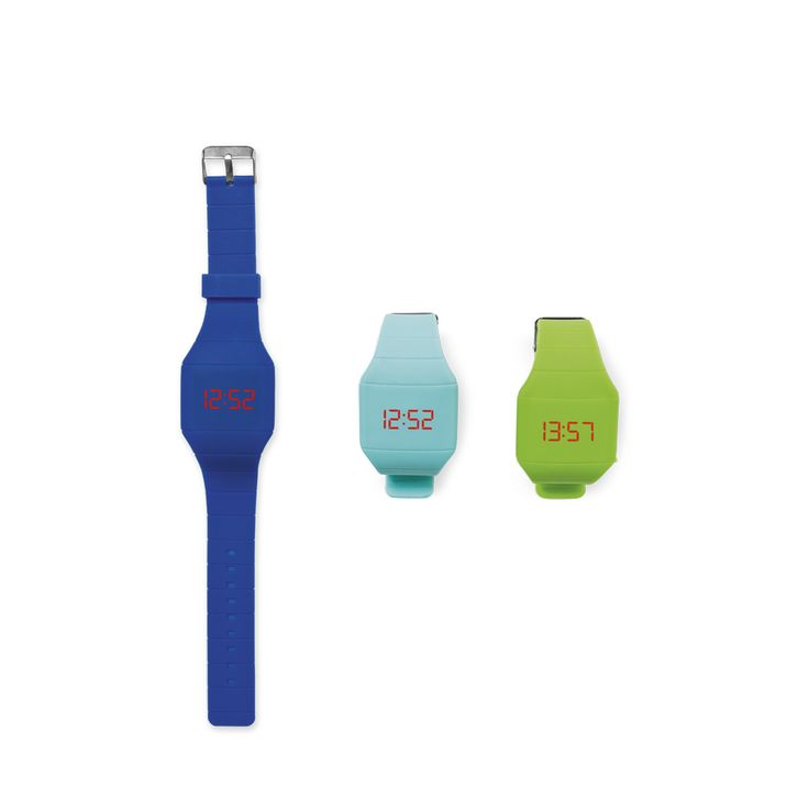 Bracelet or watch? It's both! Push a button, and the solid coloured bracelet turns into a digital watch with red numbers. It's our very own design, and it comes in four colours.
