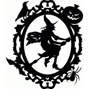 silhouette design store halloween frames part 1 witch ornate oval frame - Halloween Design