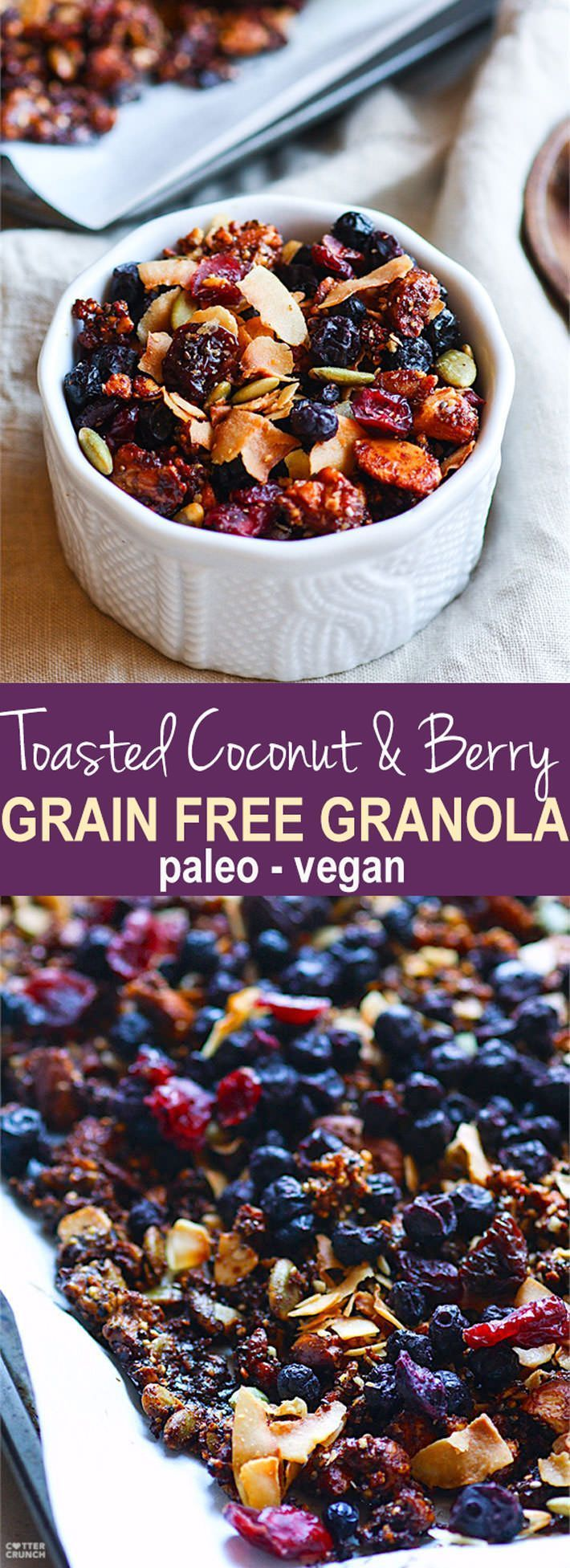 Toasted Coconut and Berry Grain Free Granola! A super simple homemade vegan and paleo grain free granola recipe that tastes so good! An assortment of Nuts, seeds, dried berries, spices, coconut oil, coconut, and maple syrup all baked up, that's it! Perfectly filling and EASY to throw together! Great fuel for you or a gift ideas for others. www.cottercrunch.com