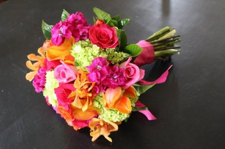 Wedding Bouquets Pink And Orange : Orange and hot pink bouquet lime green