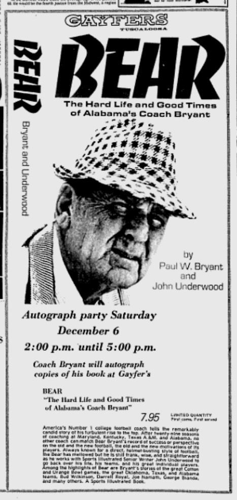 1975 Newspaper Ad For A Book Signing With Bear Bryant Of His Book   Ad From