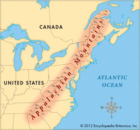 Appalachian mountains on a map