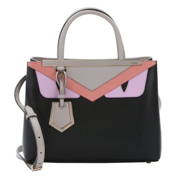 Fendi Black and pink leather petite '2 Jours' monster convertible tote ($1,800) ❤ liked on Polyvore featuring bags, handbags, tote bags, genuine leather tote bag, pink and black purse, fendi purses, convertible tote and fendi