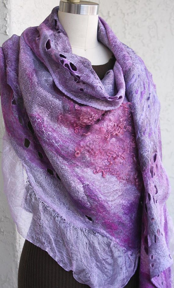 Felted eco-friendly light warm purple pink violet silk scarf