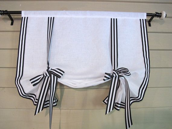 "White Linen with Black White Stripe Gross Grain Ribbon Trim 60"" Long Stage Coach Blind Swedish Roll Up Shade Tie Up Curtain"