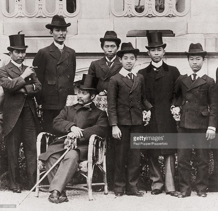 King Chulalongkorn the Great (Rama V, 1853 - 1910, seated) of Siam (Thailand) with some of his 44 his sons, circa 1900.