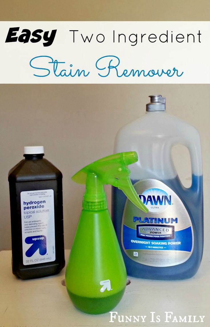 Dawn dish soap and hydrogen peroxide are the only ingredients in this easy and inexpensive homemade stain remover! FunnyIsFamily.com