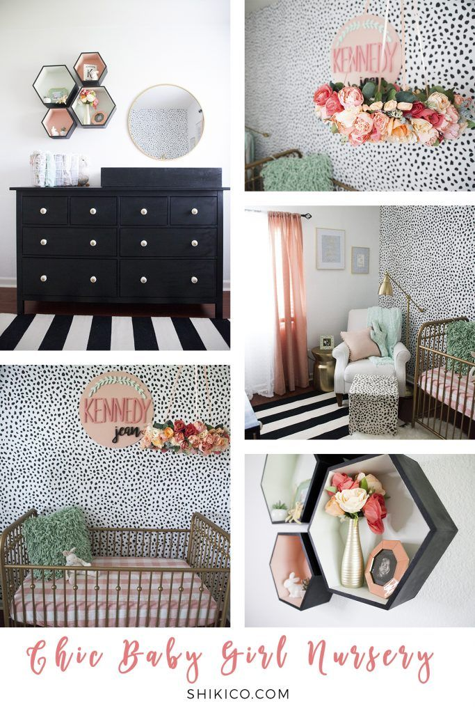 Chic Baby Nursery Decor Black White Gold With Pops Of Mint Peach And C