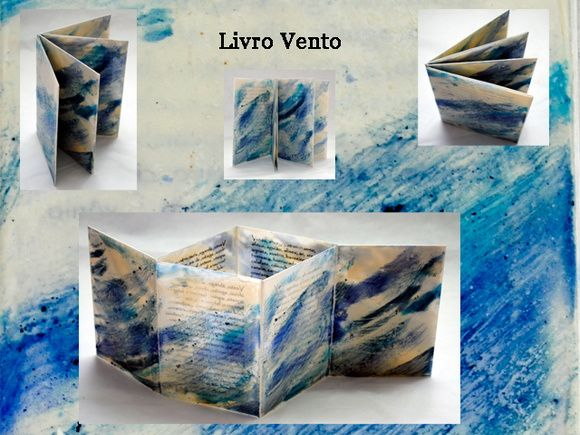 Livro tridimensional com pintura encáustica e váriações da palavra vento em seu interior. Você pode manipular à vontade, pode deixá-lo em pé, descobrir a luminosidade, planificar e deixar voar as palavras. R$ 30,00