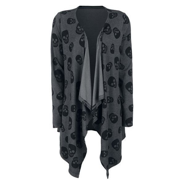 Skull Cardigan ❤ liked on Polyvore featuring tops, cardigans, skull print cardigan, jersey top, skull cardigan, skull top and grey top