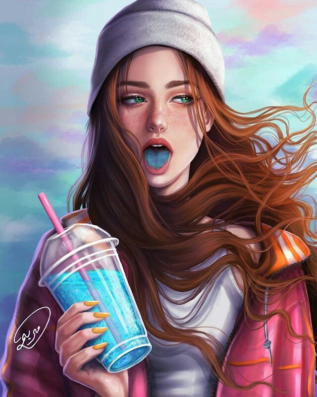 "The girl walked down the street with a gray loose shirt and baggy cargo pants. Her beanie semi-low letting her fire hair to swish against the winds chilling blow as she held her blueberry colored drink. Everyone stared at her with disgust and just as someone tried to trip her. She kicked him on the leg and took a sip of her drink and said,""Maybe next time, loser."" Her aquamarine eyes locking on him until she walked away, sticking her tongue out like no one was around."