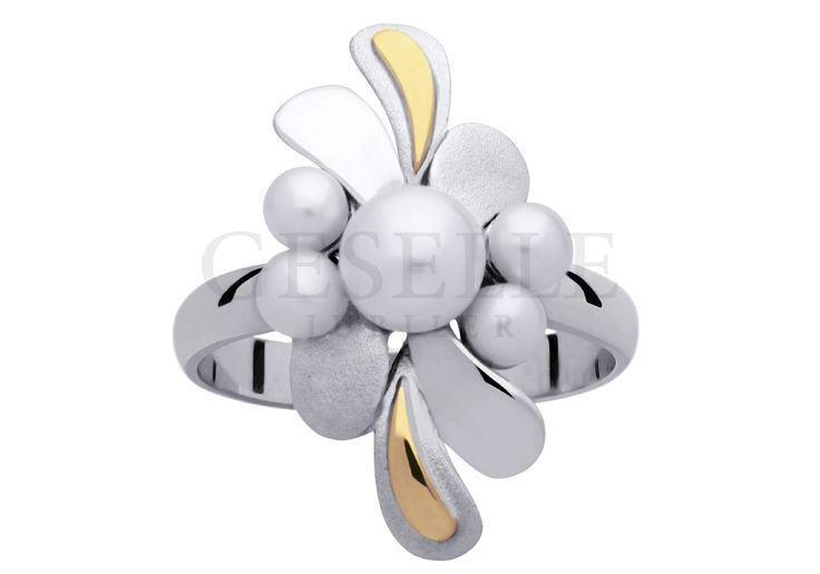 Oryginalny pierścionek z białego złota w stylu retro z perłami hodowlanymi | ZŁOTO \ Białe złoto \ Pierścionki od GESELLE Jubiler | Wrocław Poznań Katowice Warszawa