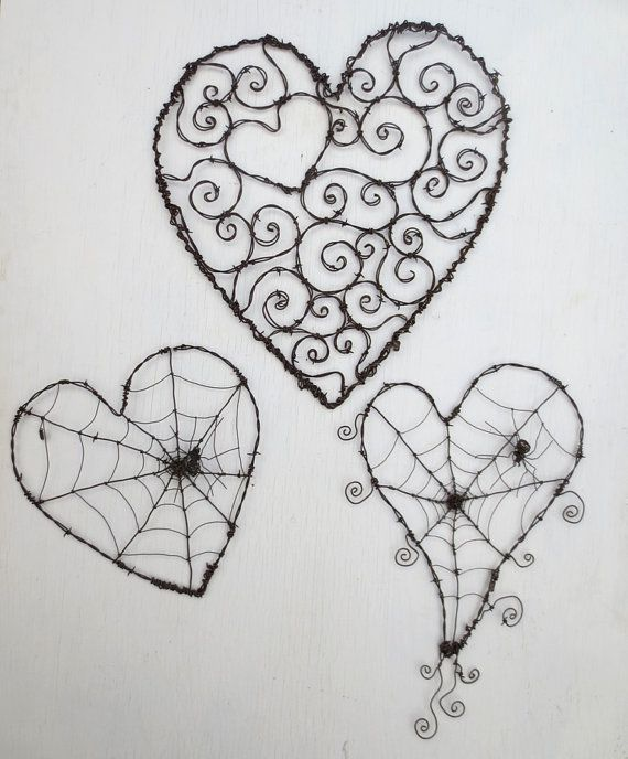 Twisted Barbed Wire Heart With Spider Web And by thedustyraven