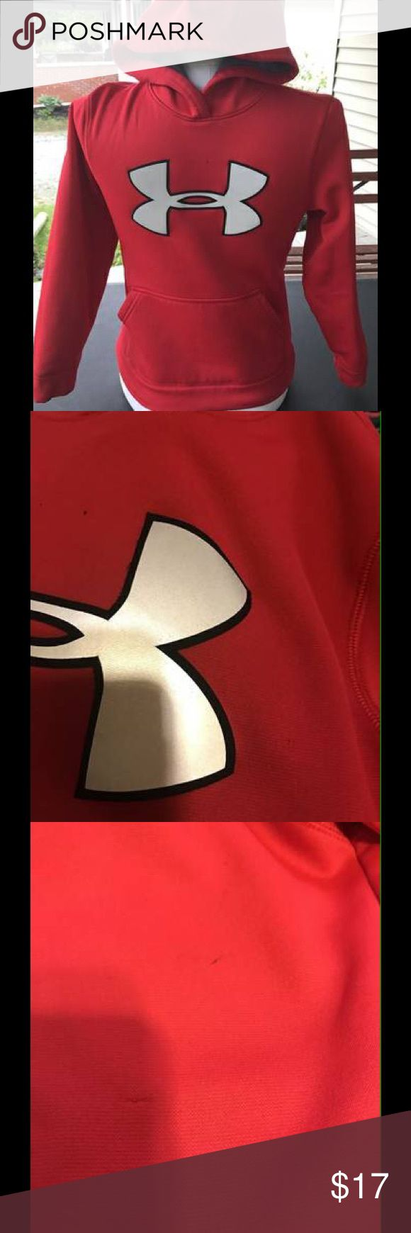 Boys Under Armour Sweatshirt It is a size youth small, color is red, in great worn condition, has some small snags on the front and a tiny stain, a couple of snags on the back, and two small stains, sale is final, I do not accept returns! Under Armour Shirts & Tops Sweatshirts & Hoodies