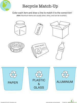 Recycle Match-Up Worksheet for Going Green Week