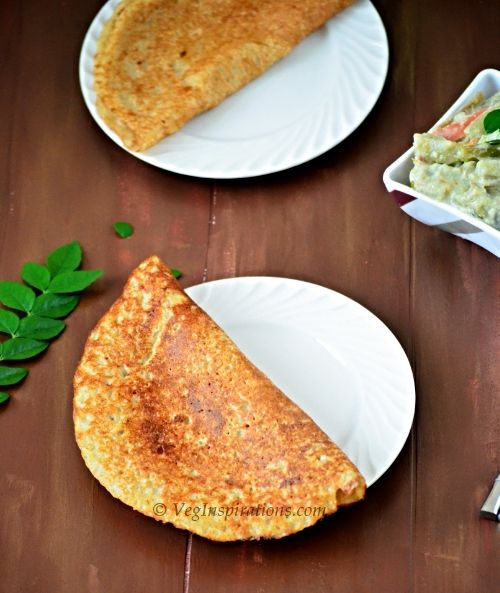 Oat Barley Adai ~ Dhal dosa with moong dhal ~ Savory Indian crepes with oats and mung bean