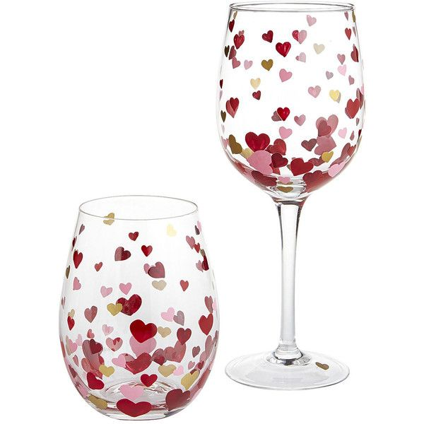 Scattered Hearts Painted Stemware ❤ liked on Polyvore featuring home, kitchen & dining, drinkware, wine glasses, wine glass, painted stemware, painted wine glasses and painted wine glass