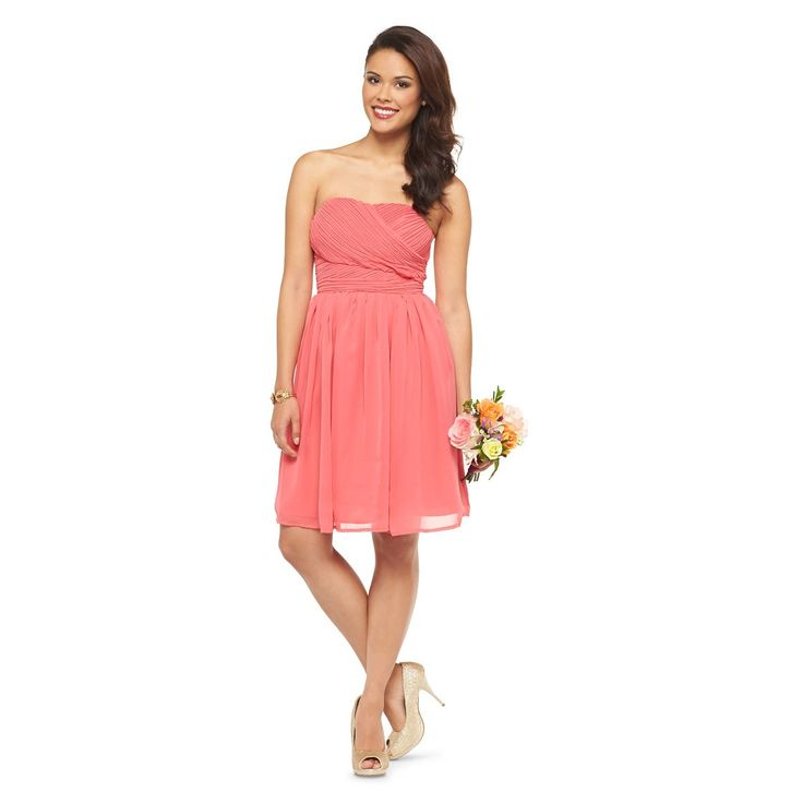 Women's Chiffon Strapless Bridesmaid Dress Coral 14 - TEVOLIO�