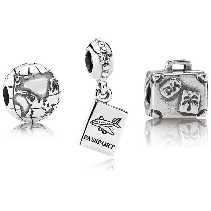The Pandora A Whole New Globe Gift Set Includes:  Suitcase Charm - $40 / 790362  Passport Charm - $45 / 791147CZ  Globe Clip - $45 / 791182    Each Pandora Charm set includes a free charm box and polishing cloth - Perfect for gift-giving!