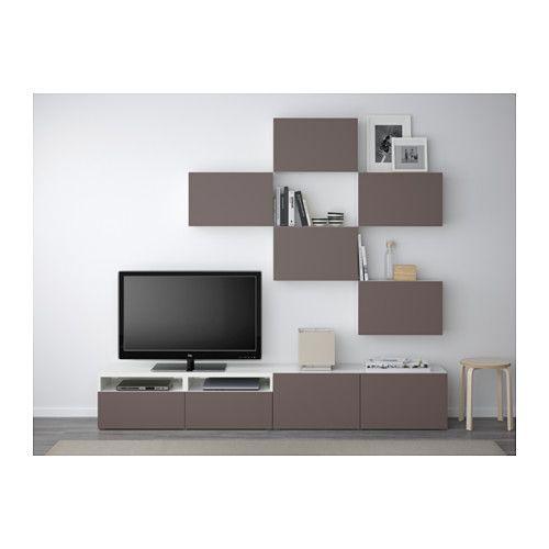 BESTÅ Mobile TV, combinazione - guida cassetto/chiusura silenziosa, bianco/Valviken marrone scuro - IKEA