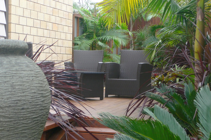 Difficult, narrow, sloping site. Designed & planted by Fusion Landscape Design.