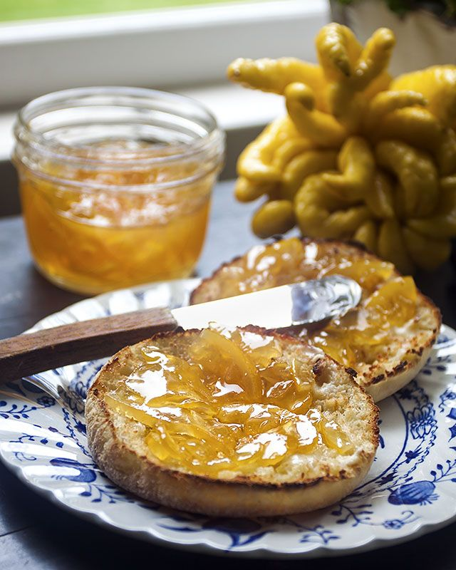 One of our favorite things to make with Buddha's Hand Citron is this wonderfully delicious marmalade, tarted up with a little help from another sweet citrus, the Meyer Lemon.  This is simply one of the best marmalades we've ever tasted, and we're not just saying that because we made it ourselves.  Easy to make, it's even easier to eat.  Try it slathered on everything from toasted English Muffins to tender crepes to fresh-baked scones.