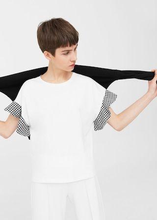 T-shirt manches volantées -  Femme | MANGO France