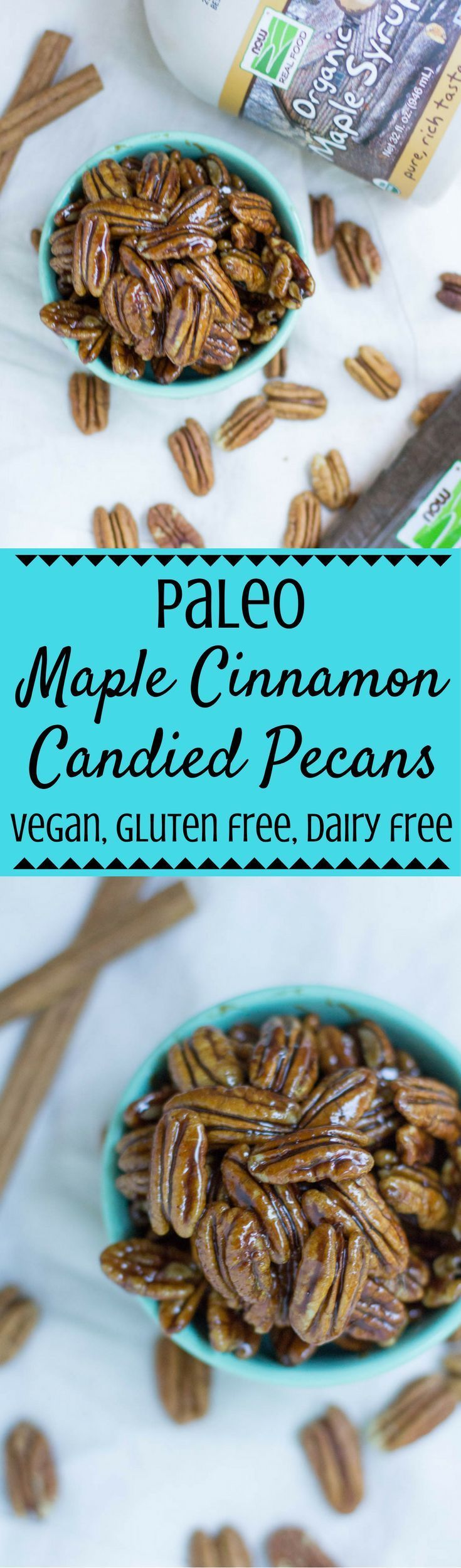 Looking for a sweet treat for topping on salads, desserts or just as a snack? Try this Paleo Maple Cinnamon Candied Pecans Recipe! This post is sponsored by NOW Foods. I love filling my pantry with their affordable, awesome goodies! |paleo | gluten free |