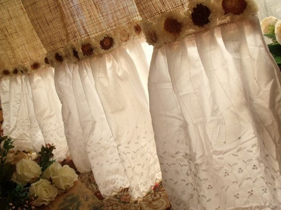 Simply shabby, beach,cottage chic,French country theme to one shower curtain. Its made of Natural tan Burlap with white embroidered eyelet ruffles and gradient rosettes--brown~tea~cream~ivory.Hand cream crochet top with rustic jute ties!   This burlap has been pre-handle before made into this shower curtain.Its almost no the bad smell and not such stiff.So shabby chic! Love love... it!:)    Pix is taken shower curtain size approx: 72 wide,Long 73~74   ♥ The bottom lace ruffles part is…