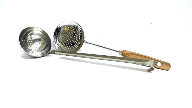 Vintage Skimmer Skimming Ladle Metal Scoop Dipper Strainer Drainer Slotted Sieve Spoon Rustic Serving Utensil Stainless Steel Wooden Handle by WoodHistory on Etsy