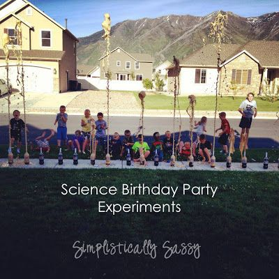 Science Birthday Party Experiments- make your own goggles and the soda explosion (diet coke and mentos!)