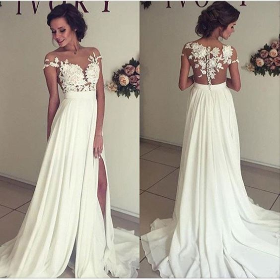See Trough Lace Liqued Bodice Off The Shoulder Beach Wedding Dress
