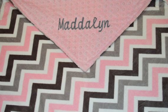 Double MINKY Chevron Blanket Personalized by WithLoveBoutiqueAL, $40.00
