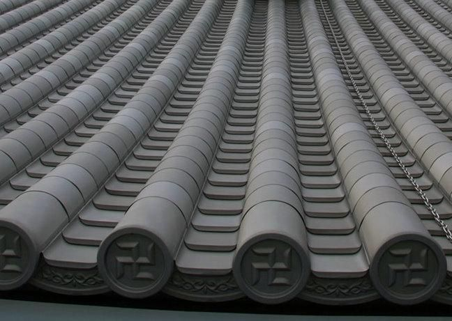 ... Japanese Kawara Tiles To Titan Tiles Allowed For The Great Reduction Of  Roof Weight From Approx. 930 To 180 Tons. The Hongawara Titanium Tiles Are  Made ...