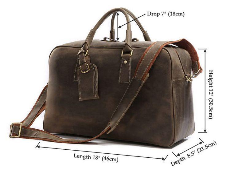 Mens Overnight Bag Leather Travel Holdall
