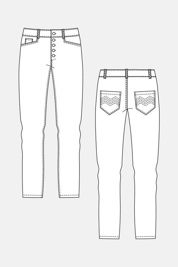 Wyome Boyfriend Jeans | Modeskizzen, Technische zeichnung