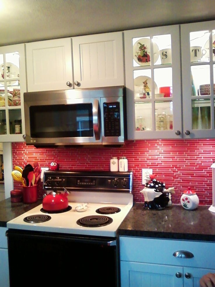 tao red planet glass tile for nice looking kitchen.