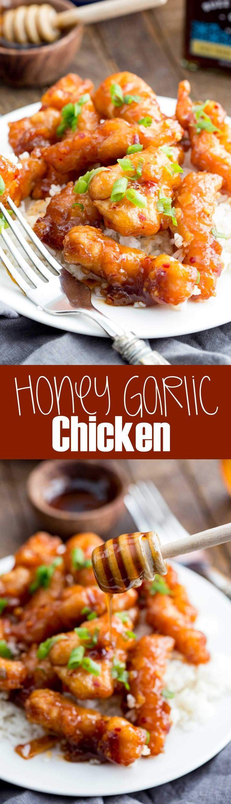 Honey Garlic Chicken: This sticky honey garlic chicken is my go to on busy…
