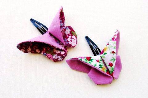 Pince à cheveux papillon tissu Origami