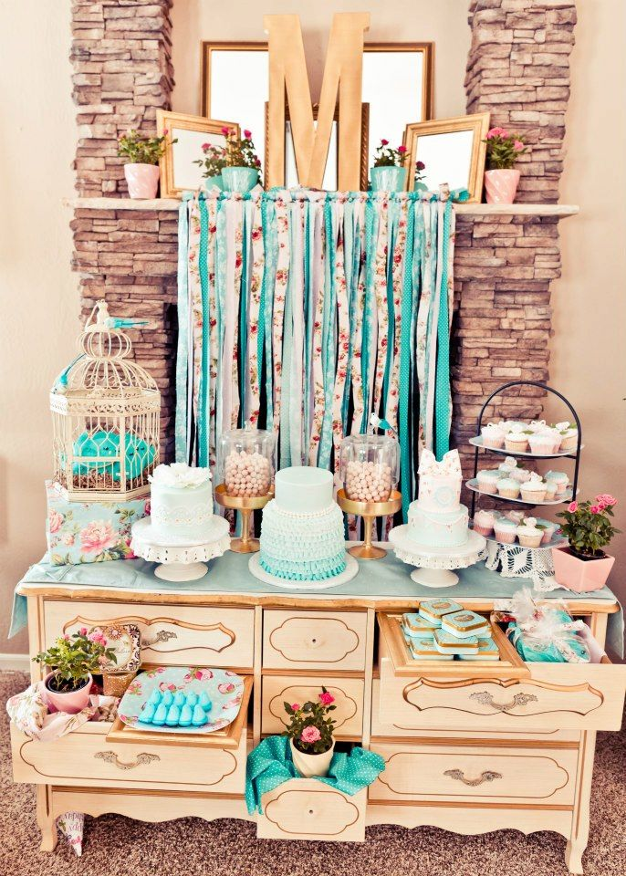 Dessert Table | Mint and Pint color combo <3 Tiffany and vintage rose sweet tables theme.