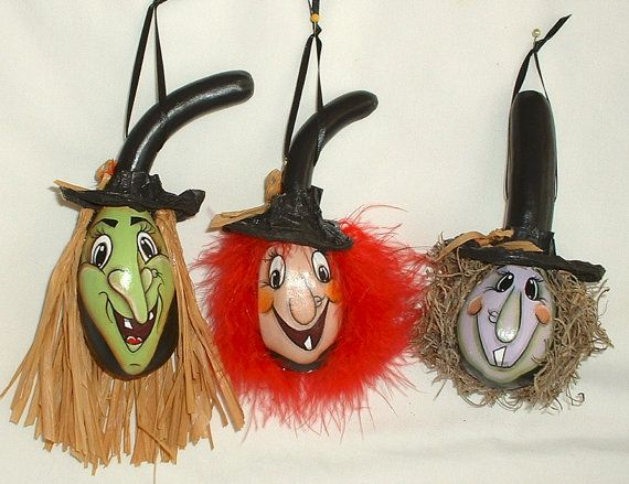 Mini Witch Halloween Gourd Ornament  Hand by FromGramsHouse, $23.00