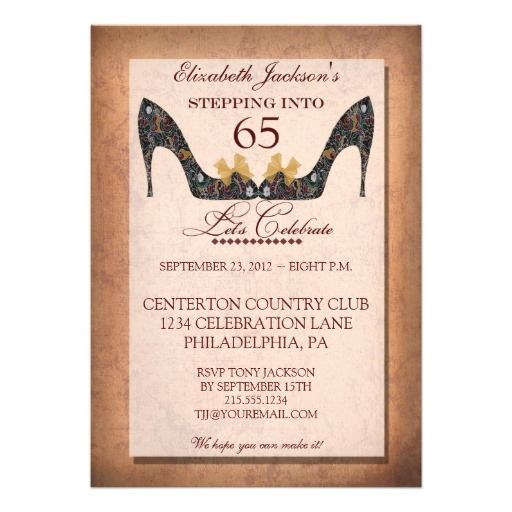 44 best 65th Birthday Invitations images on Pinterest