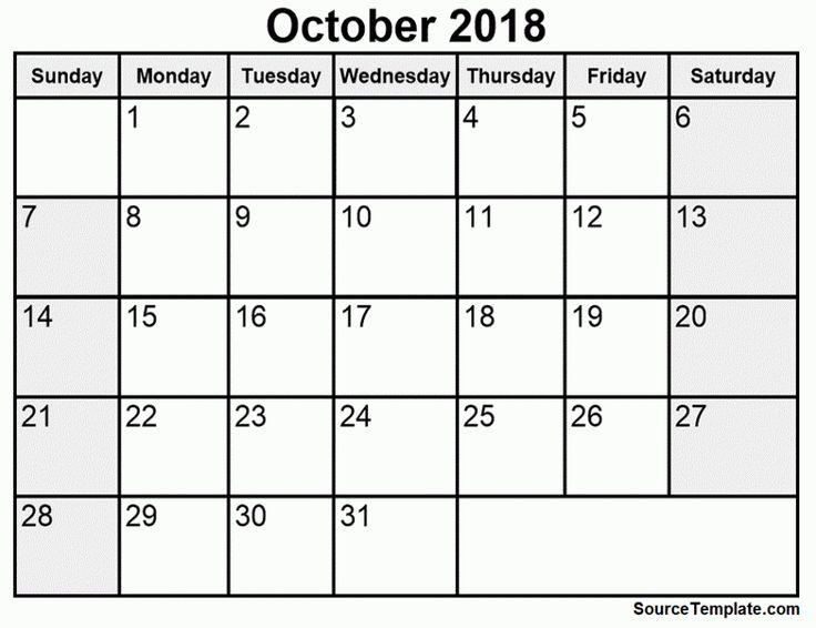 October Calendar 2018    https://sourcetemplate.com/october-2018-calendar