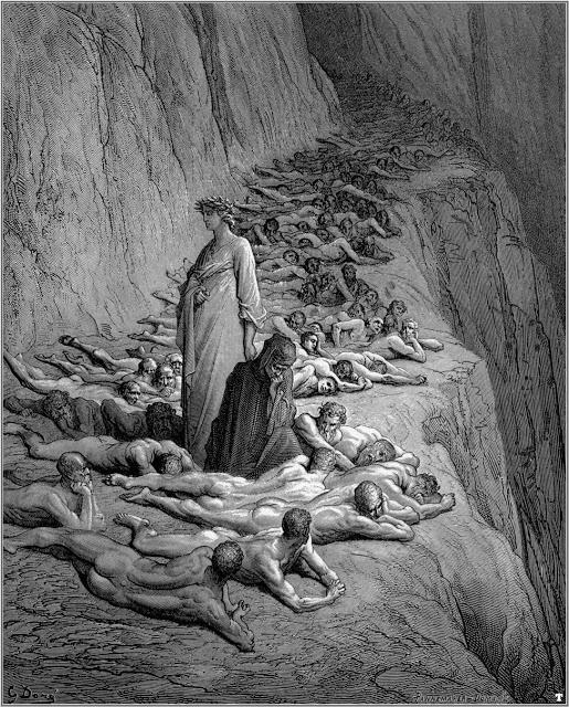 """Gustave Doré - Illustration de """"La Divine Comédie"""" de Dante Alighieri - Le Purgatoire, Chant 19."""