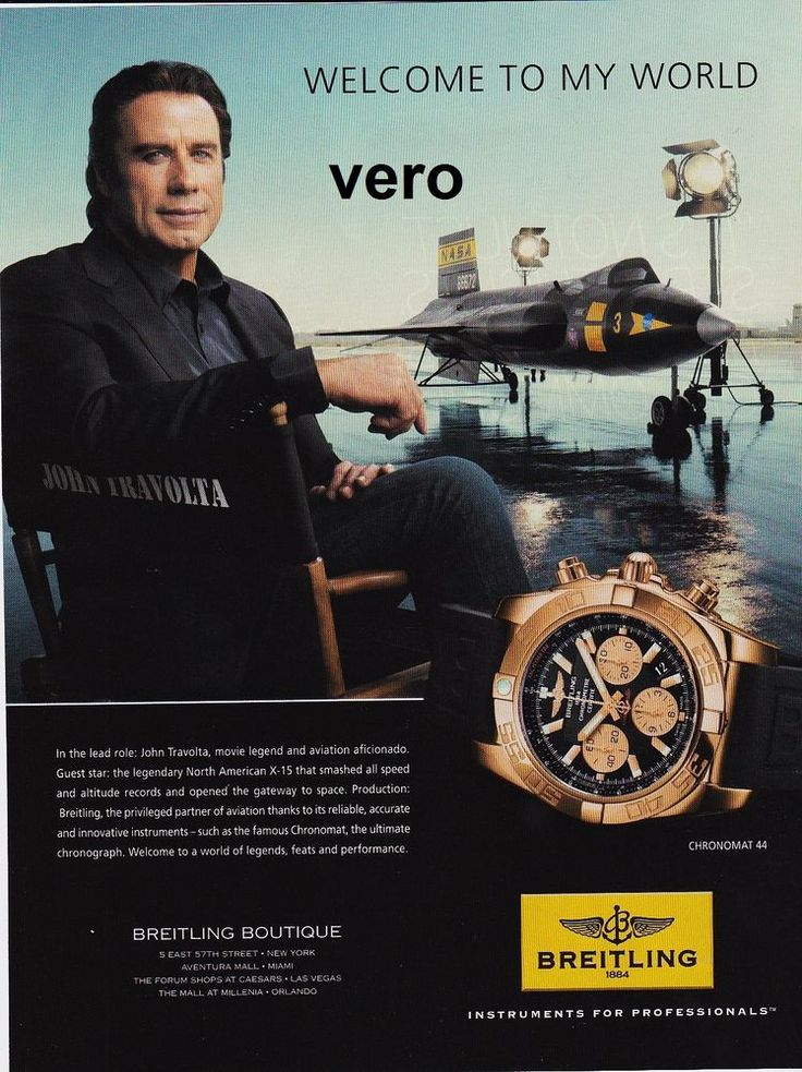 Breitling 2016 watch mag ad print chronomat copper black advert john travolta cartier for John travolta breitling
