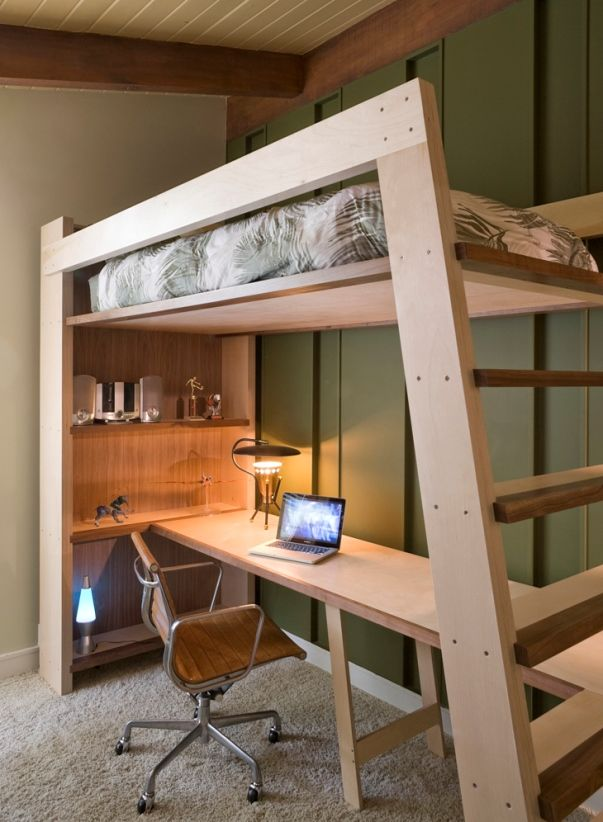 Oftentimes, we are faced with insufficient space to have our own bedroom, but here it comes the good old loft beds in place.