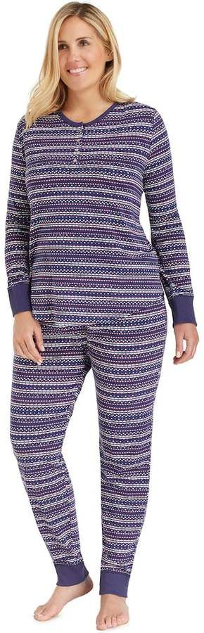 Cuddl Duds Plus Size Pajamas: Along the Boardwalk Henley Top & Jogger Pants PJ Set