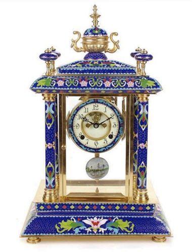 Gran-reloj-Chino-en-Bronce-con-esmalte-cloisonne