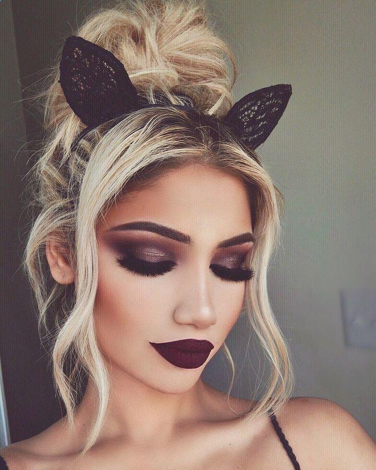 STUNNING FEMININE HALLOWEEN MAKEUP IDEAS - Pretty Cat Halloween Makeup Eyebrow Makeup Tips
